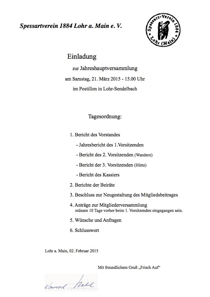 jahreshauptversammlung | spessartverein 1884 e.v. lohr, Einladung