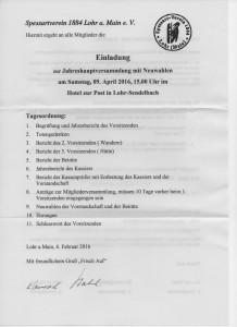 Tagesordnung der Mitgliederversammlung vom 9. April 2016